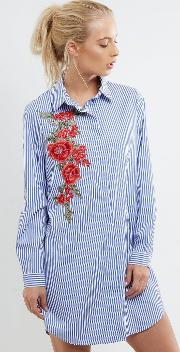 Parisian , Blue Striped Floral Embroidered Shirt