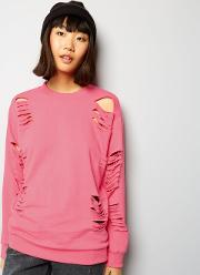 Parisian , Bright Pink Cut Out Sweater