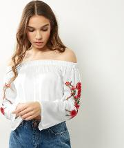 Parisian , White Floral Embroidered Bardot Neck Top