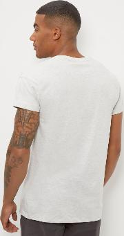 New Look , Cream Cotton Rolled Sleeve T Shirt