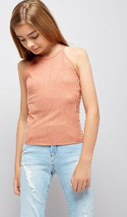 New Look , Teens Coral Ribbed High Neck Cami