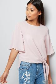 New Look Petite , Petite Lilac Tie Front Flutter Sleeve Top