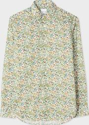 Paul Smith , Men's Slim Fit 'bird Floral' Print Cotton Shirt