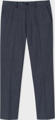 Paul Smith , Men's Mid Fit Navy Textured Cotton Blend Chinos