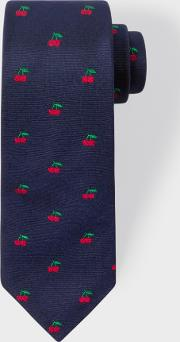 Paul Smith , Men's Navy Embroidered Cherry Narrow Silk Tie