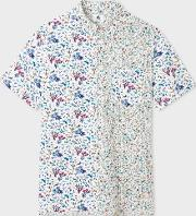 Paul Smith , Men's White Mixed 'floral' Print Short Sleeve Shirt