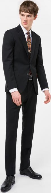 Paul Smith , The Mayfair Men's Classic Fit Black Wool Mohair 'suit To Travel In'