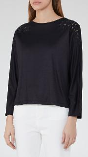Reiss , Ahleigh Embroidery Detail Top In  Women