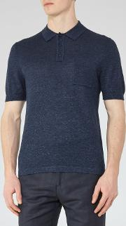 Reiss , Gordon Wool And Linen Polo Shirt In  Mens
