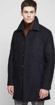 Reiss , Roscoe Sim Bouce Overcoat In Bue Mens
