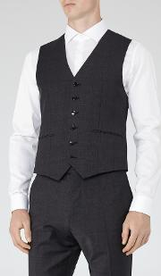 Reiss , Gaffer W Check Weave Waistcoat In  Mens