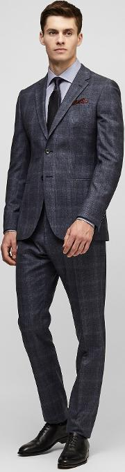 Reiss , Caine Check Wool Suit In Blue, Mens