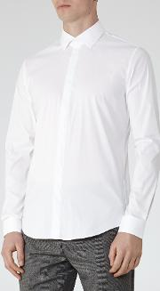 Reiss , Mauro Concealed Placket Shirt In White, Mens