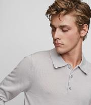 Reiss , Trafford Merino Wool Polo Shirt In Grey, Mens