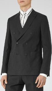Reiss , Welton B Mens Double Breasted Slim Fit Blazer In Black
