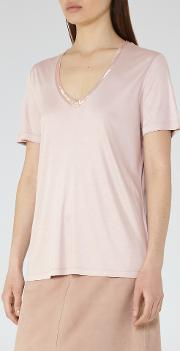 Reiss , Kim Womens Bead Detail T Shirt In Orange