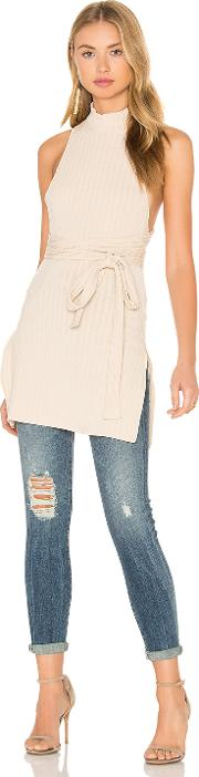 Lavish Alice , Rib Knit Open Back Wrap Tie Tunic Top