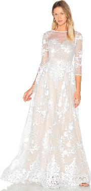 Lurelly , Sheer Embroidered Gown