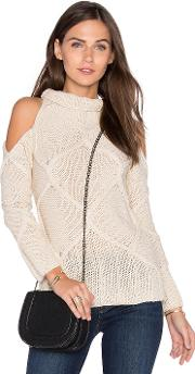 Roi , Cold Shoulder Cable Sweater