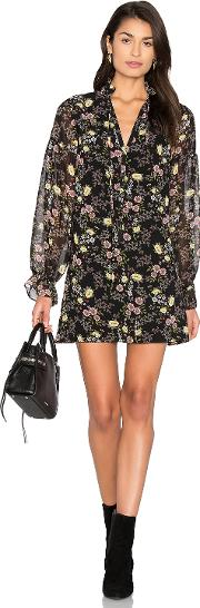 1 State , Long Sleeve Tie Neck Shift Dress