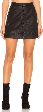 Blanknyc , Lace Up Faux Leather Skirt