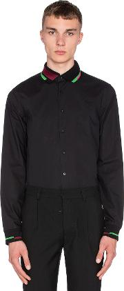 Fred Perry X Raf Simons , Long Sleeve Ribbed Collar And Cuff Shirt
