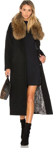 Soia & Kyo , Chanelle Coat With Asiatic Raccoon Fur Trim