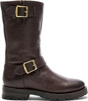 Frye , Natalie Mid Engineer Shearling Lined Boot
