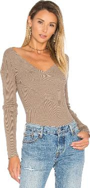 525 America , Rib Double V Criss Cross Sweater
