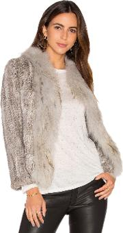 Arielle , Frill Collar Jacket With Fox And Rabbit Fur