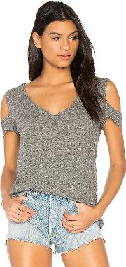 Pam & Gela , V Neck Cold Shoulder Tee