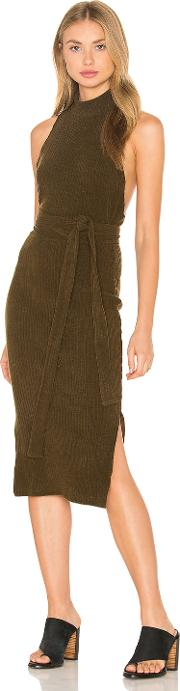 Lavish Alice , Rib Knit Open Back Wrap Tie Midi Dress
