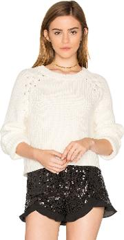 1 State , Lace Up Shoulder Sweater