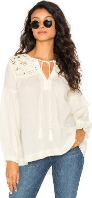 Stella Forest , Long Sleeve Tied Neck Blouse