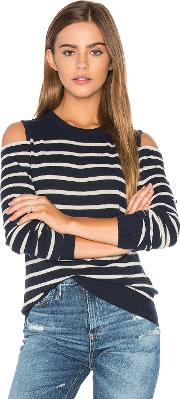 Autumn Cashmere , Cold Shoulder Stripe Sweater