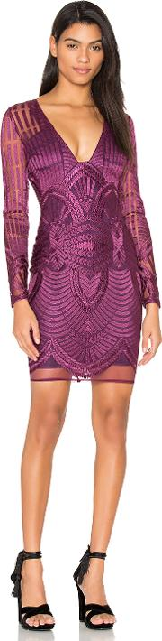 Lavish Alice , Embroidered Mesh Plunge Dress