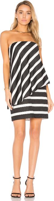 Halston Heritage , Strapless Tiered Drape Stripe Dress