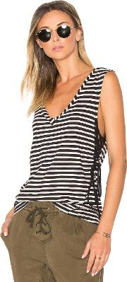 Pam & Gela , Striped Lace Up Tank