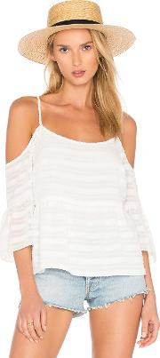 1 State , Cold Shoulder Ruffle Sleeve Blouse