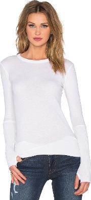 Enza Costa , Cashmere Cuffed Crew Neck Top