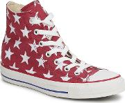 Converse , All Star Big Star Print Hi Women's Shoes (high-top Trainers) In Red