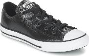 Converse , Chuck Taylor All Star Metallic Cuir Ox Girls's Shoes (trainers) In Black