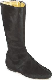 French Sole , Patch Women's High Boots In Black