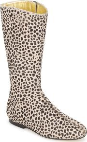 French Sole , Patch Women's High Boots In Brown