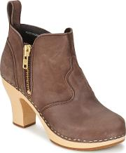 Swedish Hasbeens , Zip It Inma Women's Low Boots In Brown