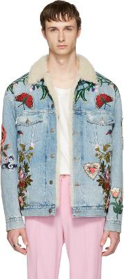 Gucci , Blue Embroidered Shearling Denim Jacket