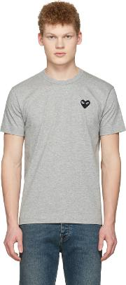 Comme Des Garcons Play , Grey Heart Patch T Shirt