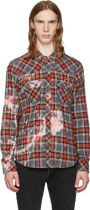 Herman , Grey Bleached Plaid Western Shirt