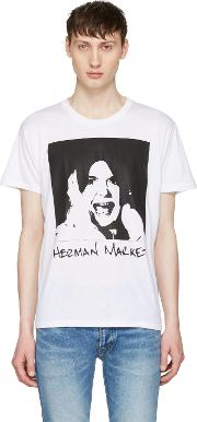 Herman , White Printed T Shirt