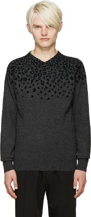 Kolor , Grey Leopard Print Sweater